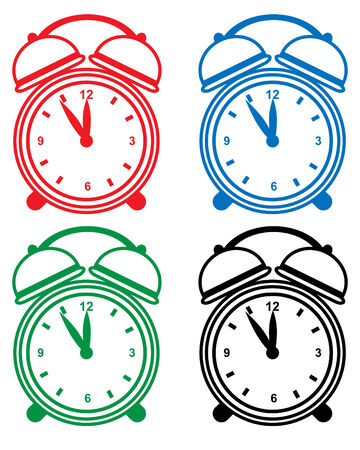 Alarm clock set isolated on a white background. Stock Vector - 6355466