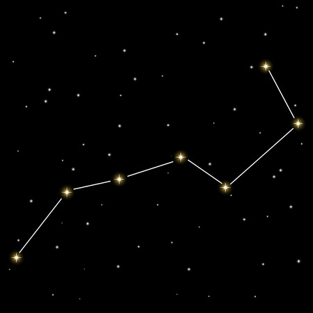 dipper: Big dipper star constellation isolated on black background. Illustration