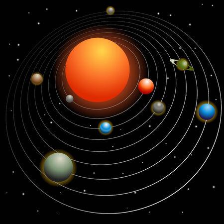 태양계 이미지 검은 배경에 고립입니다. 일러스트