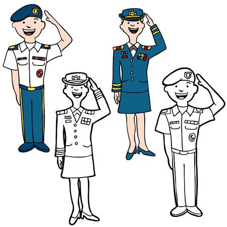 Gente de dibujos animados de ejército aislada en un fondo blanco.  Ilustración de vector