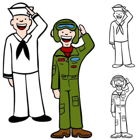 air force: Navy and Air Force men isolated on a white background. Illustration