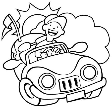convertible: Grouped cloud, sun and convertible of man driving his car on a sunny day.