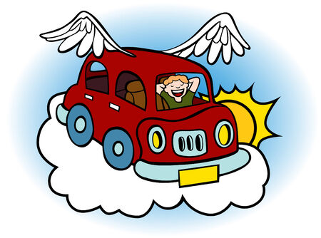 Cartoon of a flying car with wings floating above the clouds. Stock Vector - 6380887