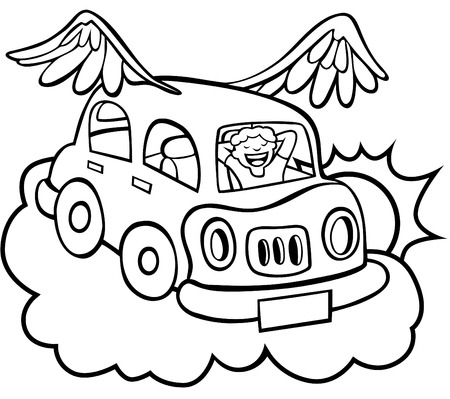 Cartoon of a flying car with wings floating above the clouds. Vector