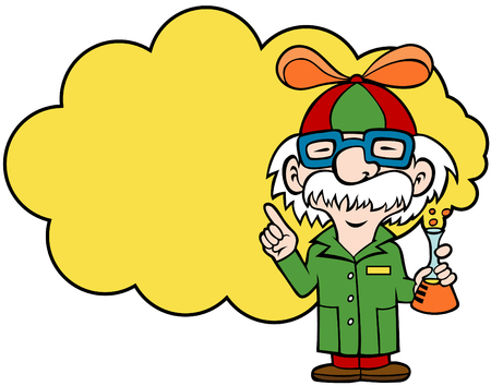 Cartoon of a scientist holding a flask and wearing a beanie with a propeller. Vector