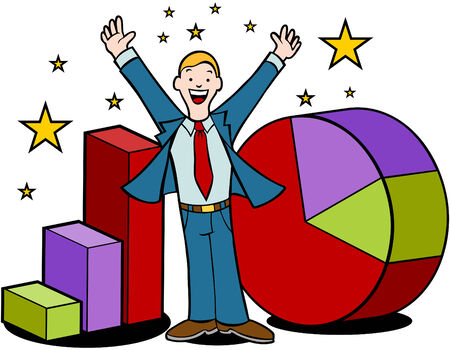investor: Cartoon of businessman magically making profit for companies. Illustration