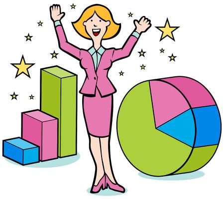 Cartoon of woman magically making business profits. Ilustração