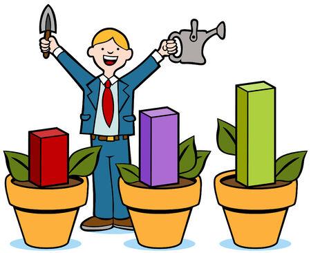 Businessman growing a bar chart like a gardener.