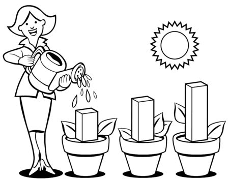 financial advisors: Woman pouring water on business chart flower pots.