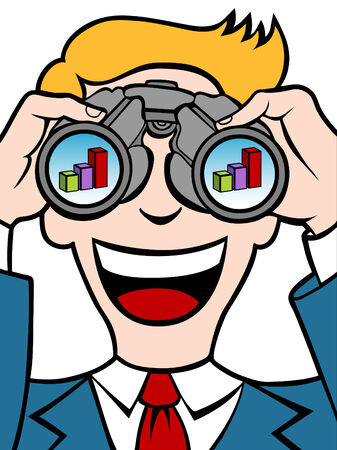 Businessman uses his binoculars to see a financial chart. Vector