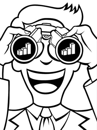 financial advisors: Businessman uses his binoculars to see a financial chart.