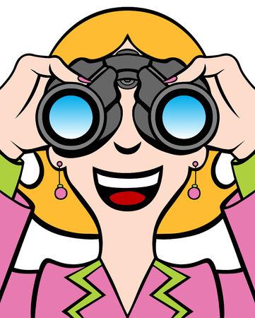 귀걸이: Cartoon of a woman in a business suit using binoculars.