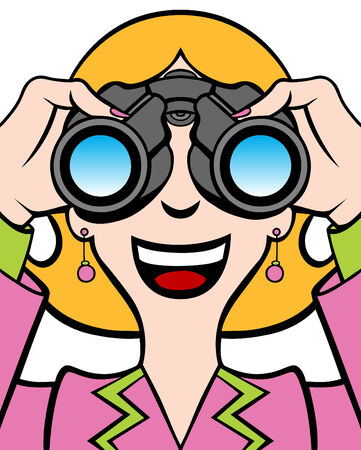 earring: Cartoon of a woman in a business suit using binoculars.