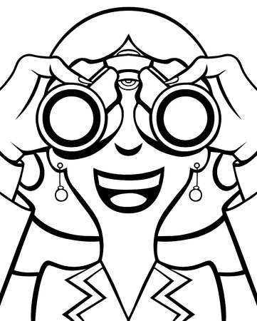 Cartoon of a woman in a business suit using binoculars. Zdjęcie Seryjne - 6399827