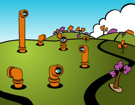 Cartoon of periscopes popping out of the ground spying on the area.