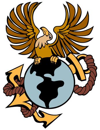 Phoenix bird with globe anchor isolated on a white background. Illustration