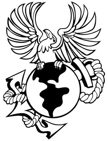 phoenix bird: Phoenix bird with globe anchor isolated on a white background. Illustration