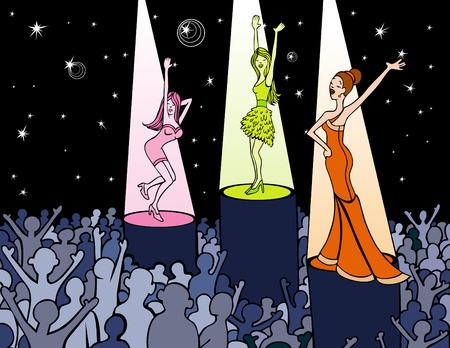 Cartoon of woman on podiums dancing in a nightclub.