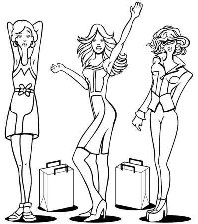 fashion illustration: Cartoon of young women who love to shop. Illustration