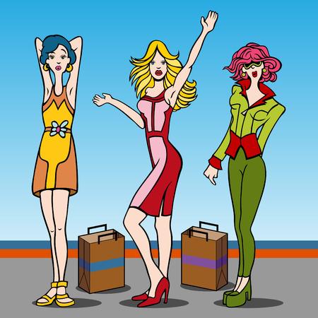 Cartone animato di giovani donne che amano al negozio.  Archivio Fotografico - 6428959