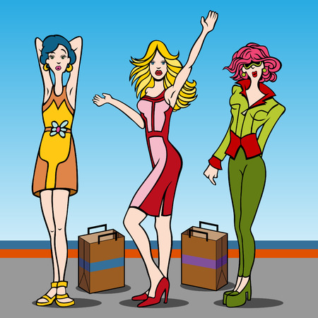 Cartoon of young women who love to shop. Illustration