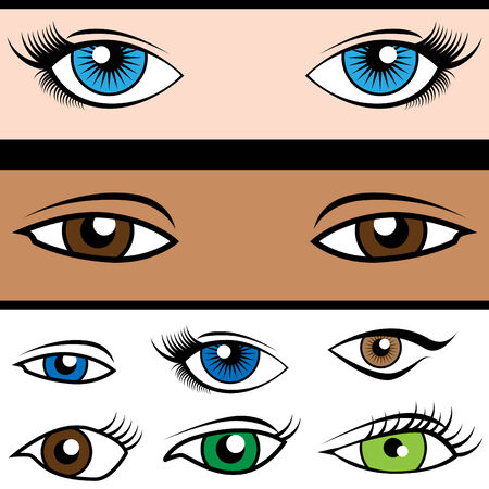 Cartoon set of eyeball shapes and colors isolated on a white background.