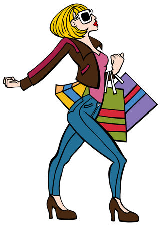 Cartoon of a fashionable woman walking with attitude holding shopping bags. Иллюстрация