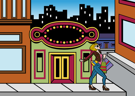 Cartoon of a woman shopping downtown in a big city. Illustration