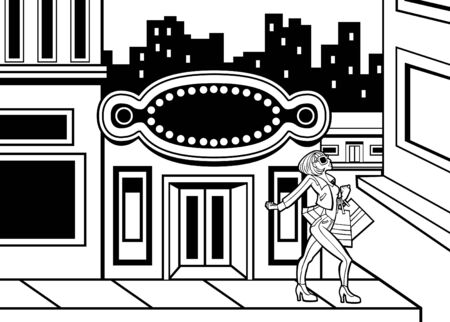 Cartoon of a woman shopping downtown in a big city. Vector