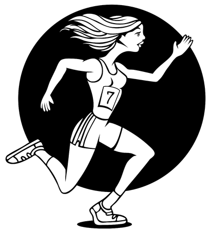 Cartoon of woman running a race wearing her badge number. Vector