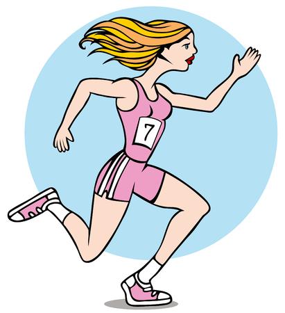 donna che corre: Cartone animato di donna in esecuzione una corsa che indossa il suo numero distintivo.