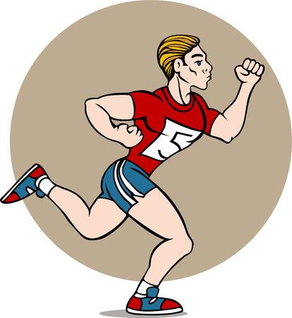 Caricatura de dibujo de un hombre que se ejecutan en una carrera aislada en un fondo blanco.  Ilustración de vector