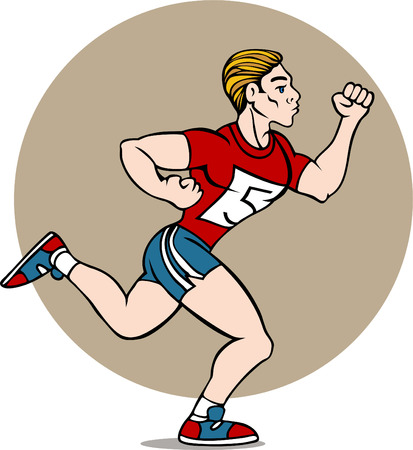 Cartoon drawing of a man running in a race isolated on a white background.