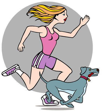 donna che corre: Cartone animato di una donna in esecuzione con il suo cane isolato su uno sfondo bianco.  Vettoriali