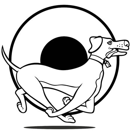 Cartoon of a labrador dog running isolated on a white background.