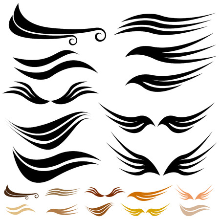brush stroke: Abstract wave wing set isolated on a white background.