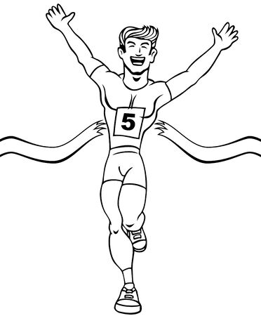 running: Cartoon of a man reaching the finish line in a running event.