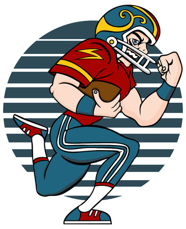 Cartoon of Football player isolated on a white background. Illustration