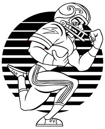 black people: Cartoon of Football player isolated on a white background. Illustration