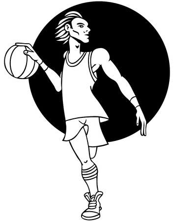 Cartoon basketball player isolated on a white background. Vector
