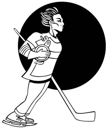 Hockey player isolated on a white background. Illustration