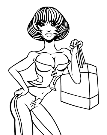 cleavage: Cartoon of a sexy girl in a corset holding a shopping bag.