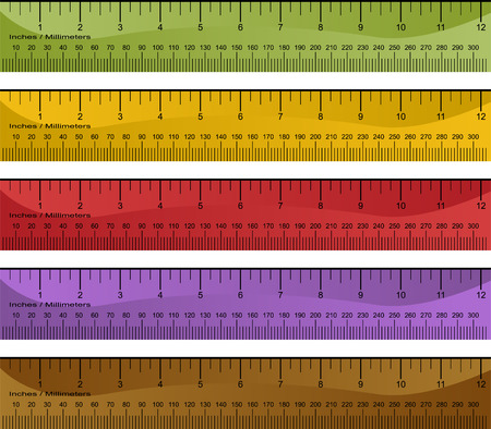 Millimeter and inch ruler set isolated on a white background.