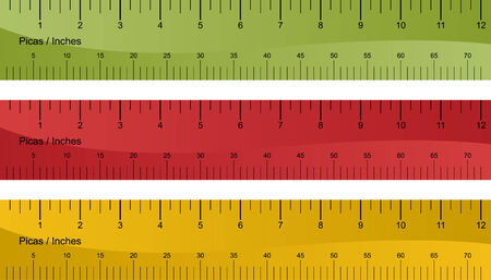 inches: Pica ruler set isolated on a white background.