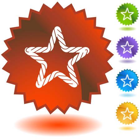 Rope starburst icon set isolated on a white background.