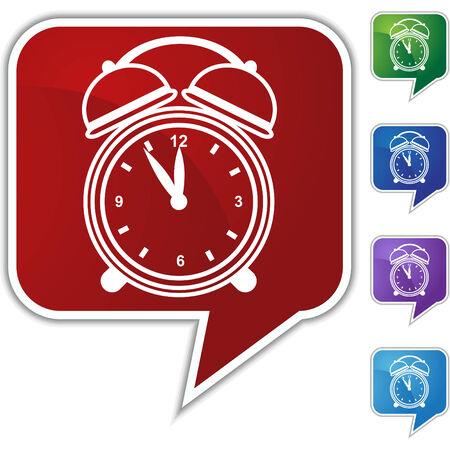 Alarm clock speech balloon icon set isolated on a white background. Vector
