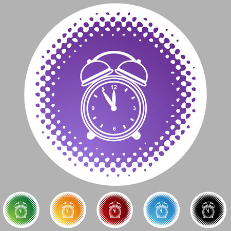 Alarm clock halftone icon set isolated on a white background. Vector
