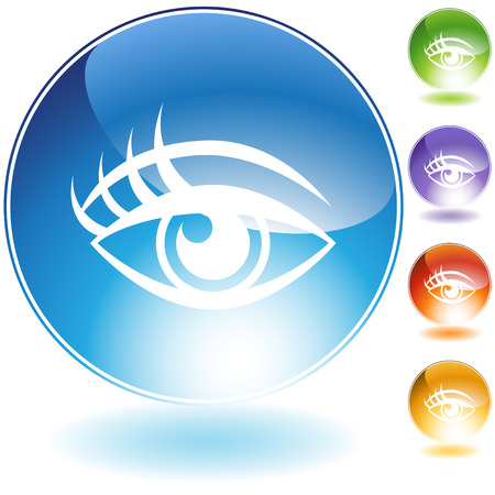 Human eye crystal icon set isolated on a white background.