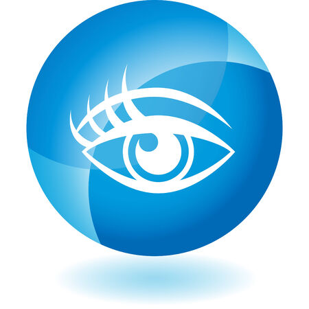 Human eye transparent blue icon isolated on a white background.