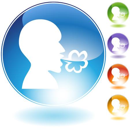 sneezing: Malattia cristallo icon set isolato su uno sfondo bianco.